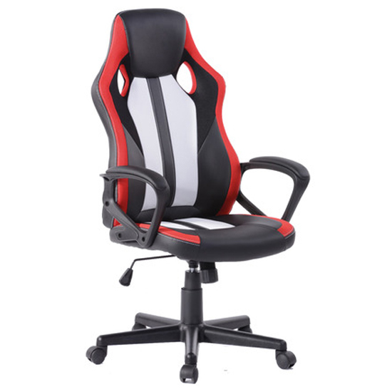 Racing Fun Faux Leather Gaming Chair In Black And Red