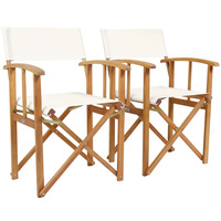 Charles Bentley Pair Of Folding Wooden Directors Chairs FSC Certified Cream