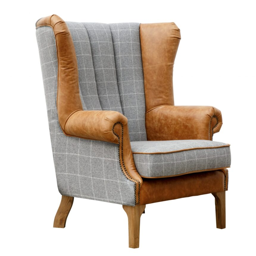 Fluted Wing Chair - Grey/Tan