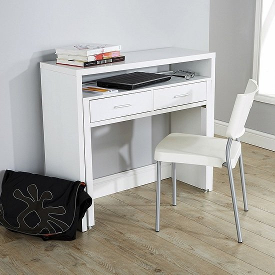 Balin Extendable Desk Or Console Table In White With 2 Drawers